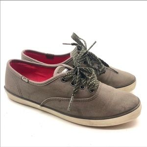 Keds Brown / gray lace up fashion sneaker low top